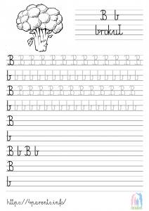 Nauka pisania liter - B