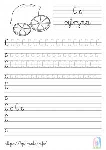 Nauka pisania liter - C