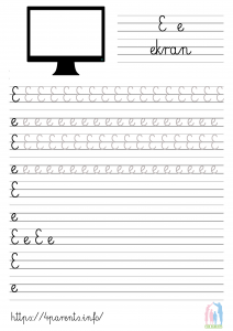 Nauka pisania liter - E