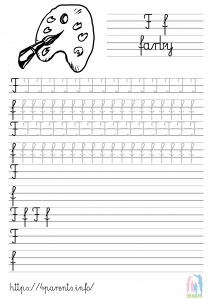 Nauka pisania liter - F