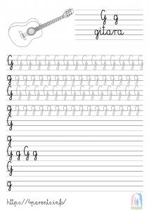 Nauka pisania liter - G