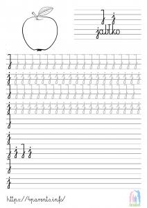 Nauka pisania liter - J