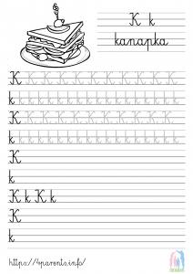 Nauka pisania liter - K