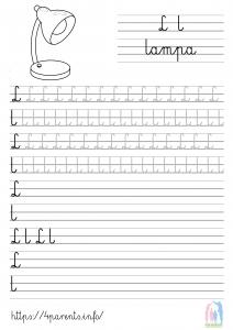 Nauka pisania liter - L