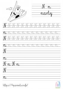 Nauka pisania liter - N