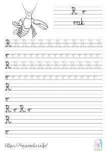 Nauka pisania liter - R
