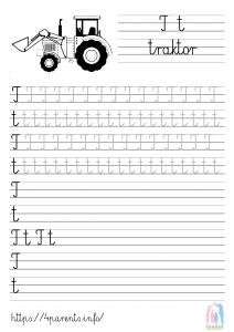 Nauka pisania liter - T