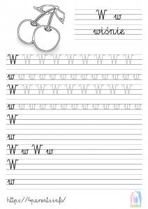 Nauka pisania liter - W