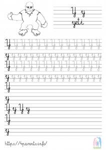 Nauka pisania liter - Y